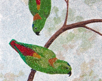 Glitter Painting - Blue-crowned Hanging Parrots