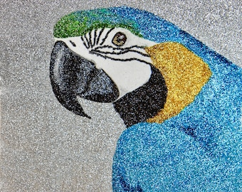 Glitter Painting - Blue and Gold Macaw