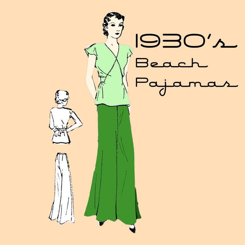 1930s Sewing Patterns- Dresses, Pants, Tops 1930s BEACH PAJAMAS Vintage Sewing Pattern Exact Digital Copy Pyjamas Vintage Fashion 837 Sz. 16 Bust 34 Beach Wear Bell Bottoms $6.50 AT vintagedancer.com