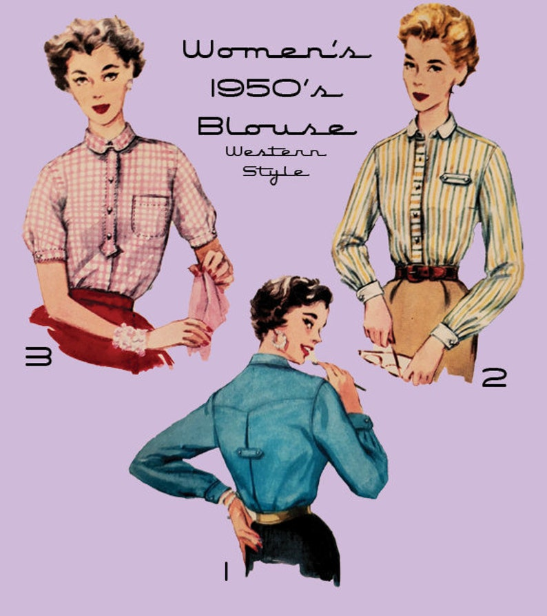 Vintage Western Wear Clothing, Outfit Ideas     1950s Blouse Pattern Western Style Mid Century Digital Sewing Pattern- 3 Views Included Vintage Overblouse $6.50 AT vintagedancer.com