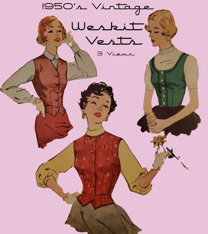 Vintage Western Wear Clothing, Outfit Ideas     1950s Vintage Weskit Vests Pattern 3 Styles Digital Download- Mid Century Sewing Size 13 Womens Vintage Vest Pattern $4.50 AT vintagedancer.com