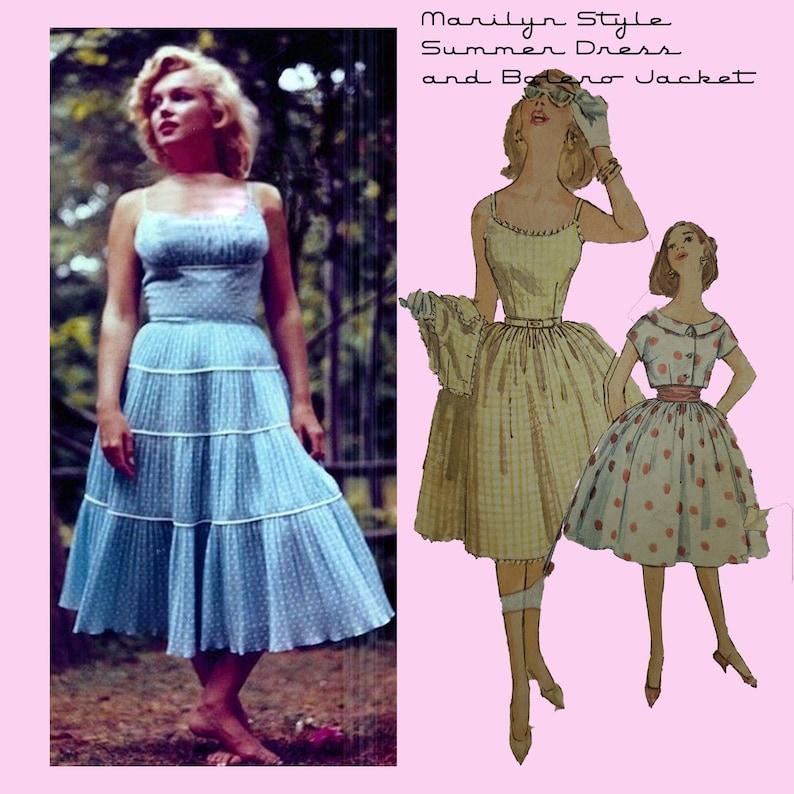 Vintage Western Wear Clothing, Outfit Ideas     1950s Marilyn Monroe Style Spaghetti Strap Summer Dress with Bolero Jacket and Cummerbund- Sewing Pattern SZ 14 INSTANT Digital Download $7.50 AT vintagedancer.com