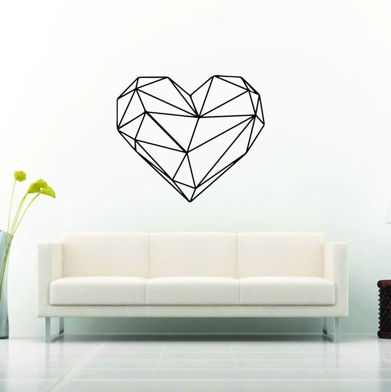 geometric heart wall decal | etsy
