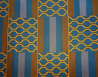 "Wax fabric/POLYCOTTON Ankara African pattern ""kente"" in coupon"