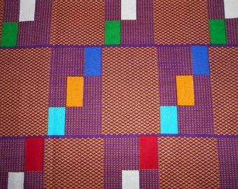 "Wax-wax fabric African pattern ""kente"" coupon 45 cm x 116 cm"