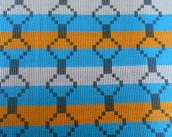 "Wax-wax fabric African pattern ""kente"" coupon 45 cm x 55cm"