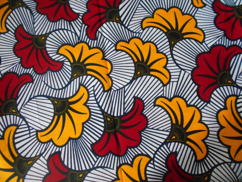 Coupon Tissu Wax African Cloth Fleurs De Mariage 45 Cm X 115 Etsy