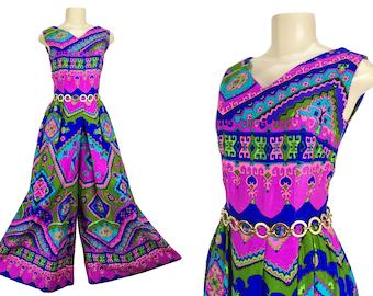 Vintage 1960s Jumpsuit Wide Leg Palazzo Pant Suit Alice Polynesian Fashions Size XS Neon Bark Cloth Tiki Aloha Luau Floral V-neck Sleeveless