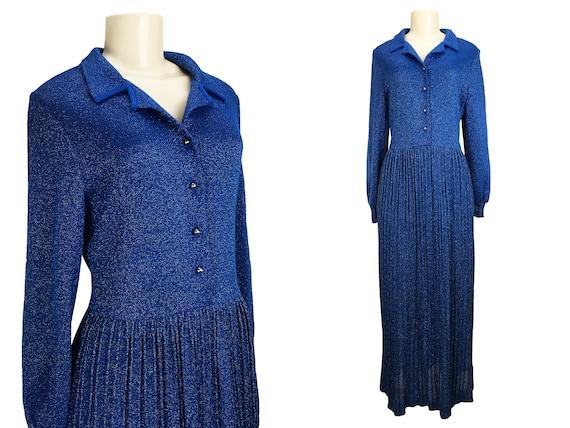 Vintage 1960s Lurex Maxi Dress | Size M L | Tiki K
