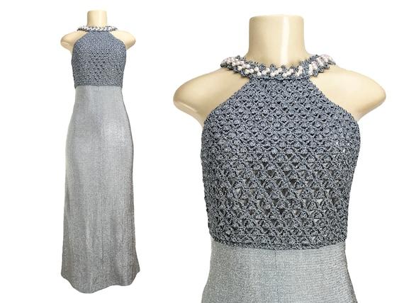 Vintage 1960s 1970s Maxi Dress   Size S   Silver L