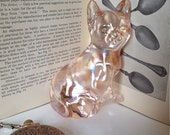 Vintage Pink Glass Cat Curio 151 Iridescent Glass Carnival Glass Animal Collectible Weird Cat Figure Pretty Things Cat Lover