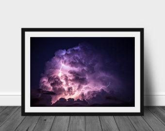 Lightning photo lightning photography lightning wall art photography storm photography lightning storm photo storm cloud photo matted photo