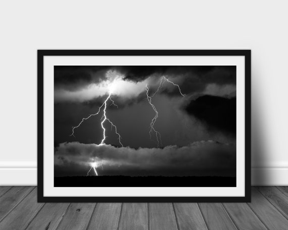 framed black and white lightning strike wall art photo ready etsy framed black and white lightning strike wall art photo ready to hang storm photography art print nature desk art gift