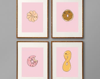 Set of six donut prints, pink, multi-colored, Instant download, wall art, printables