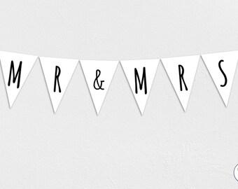 Mr & Mrs Garland, Bunting, Banner, wedding, bride, groom, Honeymoon, Instant Download, printable,