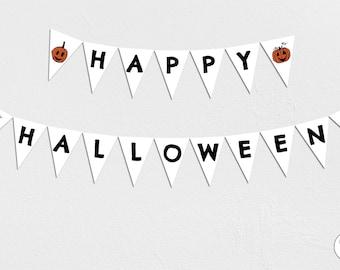 Happy Halloween Garland, Bunting, Banner, pumpkins, Instant Download, printable, orange and black