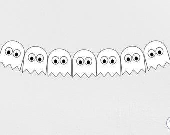 Ghost Halloween Garland, Bunting, Banner, trick or treat, Instant Download, printable,