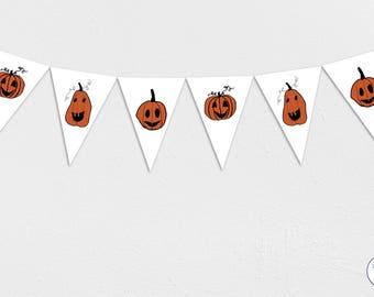 Pumpkin Halloween Garland, Bunting, Banner, trick or treat, Instant Download, printable,
