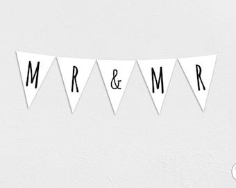 Mr & Mr Garland, Bunting, Banner, wedding, engagement, groom, Honeymoon, Instant Download, printable,