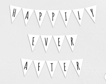 Happily Ever After Garland, Bunting, Banner, wedding, bride, groom, Honeymoon, Instant Download, printable,