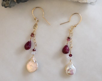 Pearl & Ruby Earrings #43