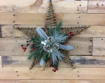 Wicker and Burlap Hanging Christmas Star Decoration
