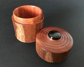 Turned wooden lidded box trinket box - Red Ironbark with African Blackwood Cabachon