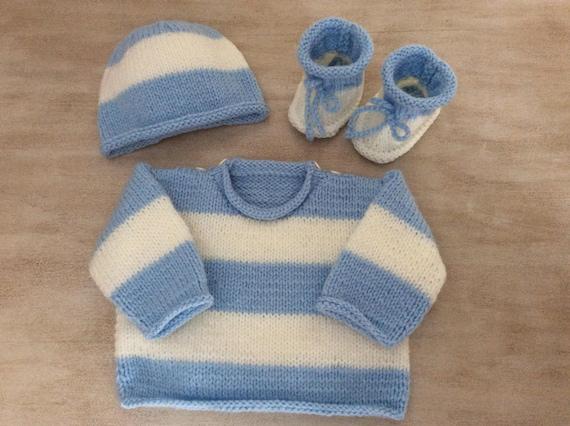903c3f423218 Set blue white wool sweater Hat booties hand knitted newborn