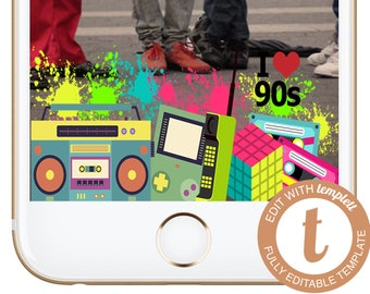 INSTANT DOWNLOAD Snapchat Filter 80s 90s Hip Hop Fresh Geofilter Birthday Party Hiphop