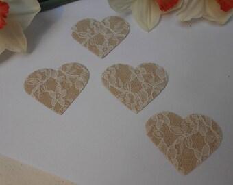 Burlap lace heart