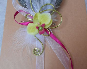 PIN back train lime fuchsia and white with Orchid