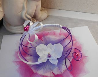 Small original ring pillow white, pink and purple