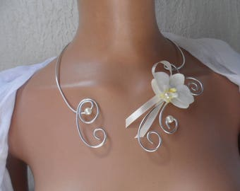 Ivory and silver with ivory Orchid bridal necklace