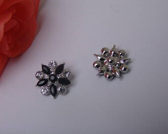 Snap Jewelry - Silver sparkly rhinestones and black