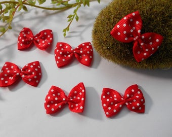6 red and white polka - dot bow - 4cm / 2.5 cm