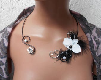 Necklace for bride or witness - black and white with Orchid flowers
