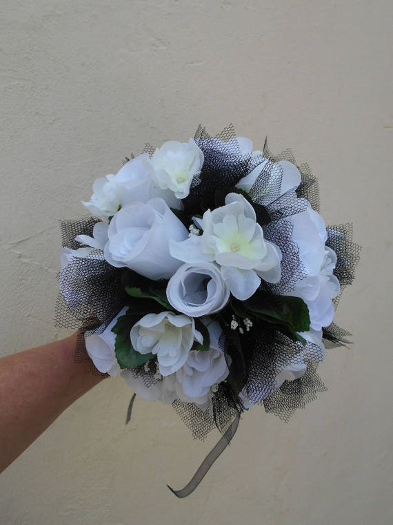 Black and white artificial flowers wedding bouquet etsy image 0 mightylinksfo