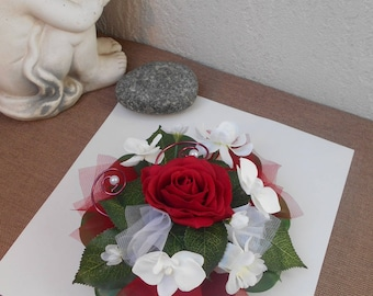 Centerpiece - artificial flowers table decoration - Burgundy and white