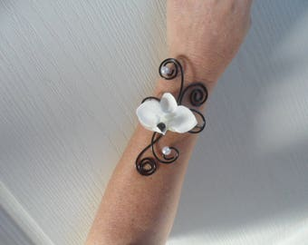 Floral black and white with white Orchid - wedding bracelet