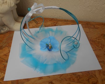 Original ring pillow - white and turquoise - wedding