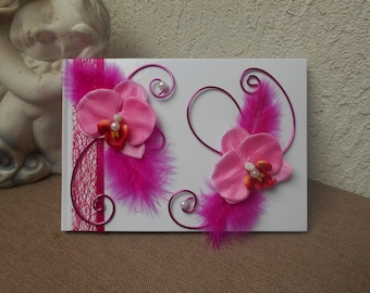 Guestbook for wedding - white and fuchsia - Orchid