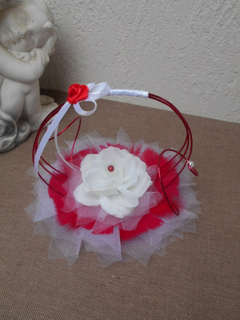 Original wedding rings-red and white with white rose