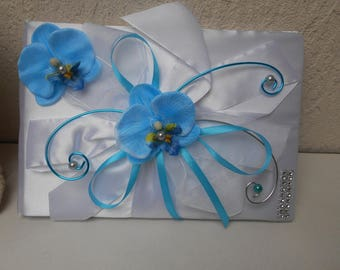 Guest book for wedding - turquoise and white with Orchid