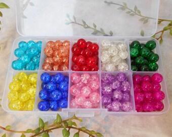 20 - assortment - 8mm cracked glass beads