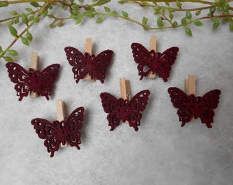 6 dark Burgundy felt Butterfly pins