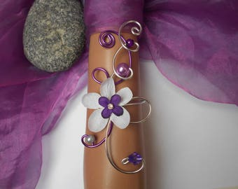 Bracelet for bride - floral purple silver and white