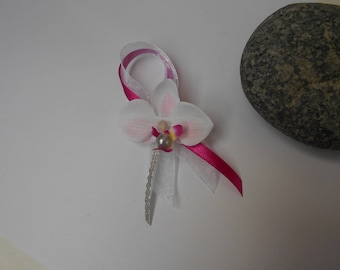 Brooch for wedding - fuchsia with Orchid and white silver boutonniere