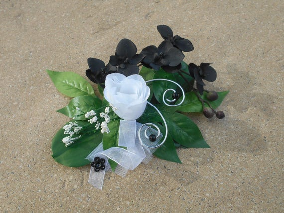 Center Table Black And White And Silver Artificial Flowers Etsy