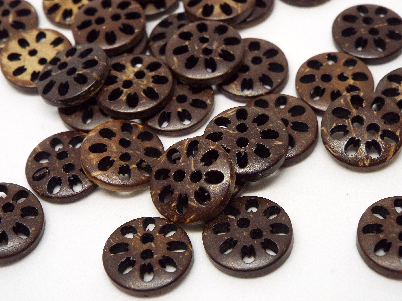 8x Dark Round Fretwork Lattice wooden buttons 23mm