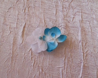turquoise and white Orchid hair clip